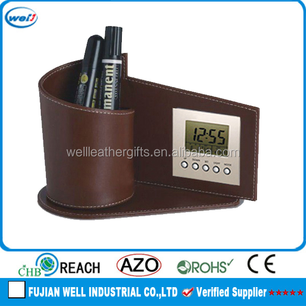 High end leather pen holder with LCD clock