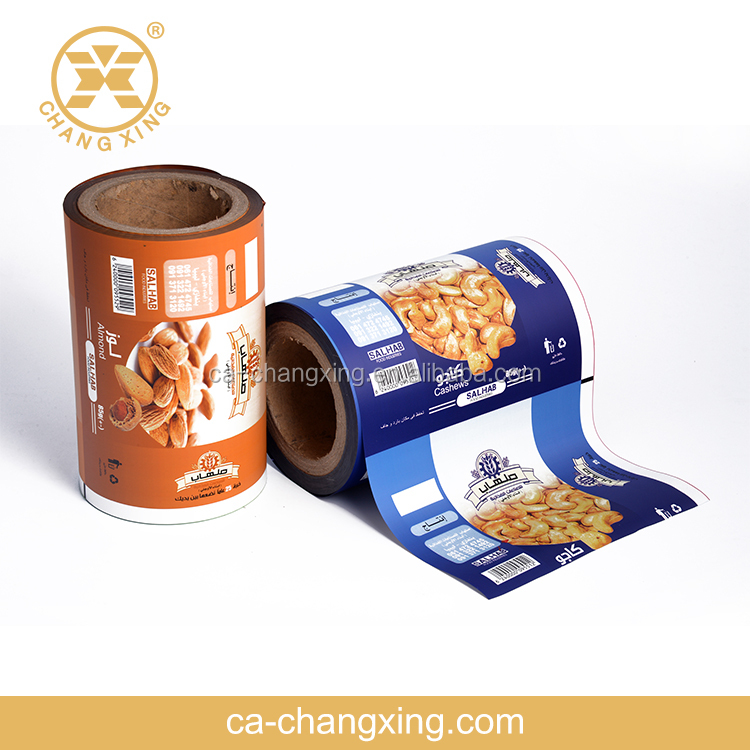 FDA Changxing flexible packaging,vivid printed roll film for cashew nut packaging,cashew nut packaging sachet