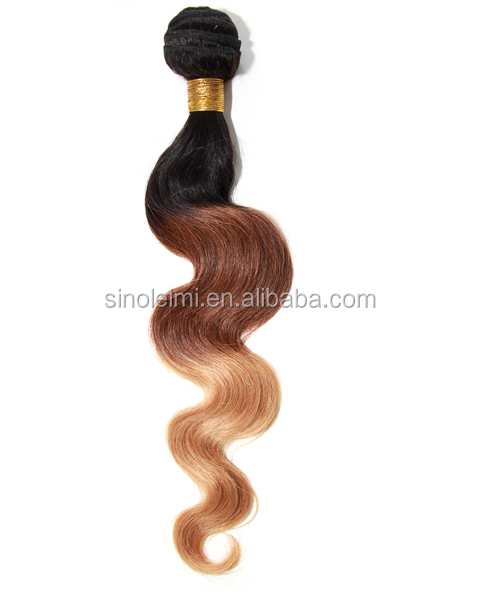 body wave virgin brazilian hair extension two color weaving 100g/pack