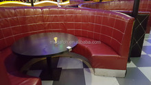 New design luxury leather curved sofa booth for coffee,tea restaurant(FOH-CK73)