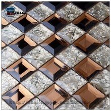 Art wall decorative mirror wholesale gold color glass mosaic tile