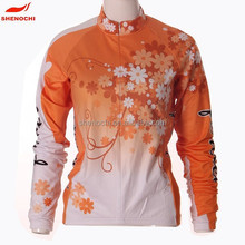 Fashion women sublimation printing winter thermal wear fleece cycling jersey
