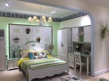 2017 New Design Green and White Pine Wood and Oak Wood Unique Kids Bedroom Furniture