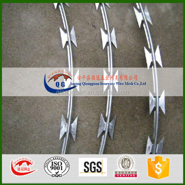 razor barbed tape wire/ razor wire coil/Bulgaria stainless steel concertina fencing