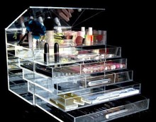Clear Makeup Jewelry Cosmetic Storage Box Acrylic Case Stand Holder Organizer