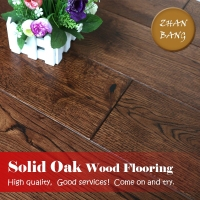 Residential light brown european oak wire brushed wooden flooring / solid white oak used hardwood flooring for sale
