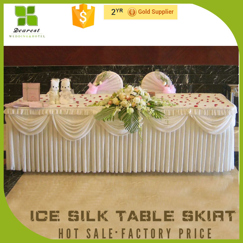 China manufacturer wedding cake table skirt with swag manufactured in China