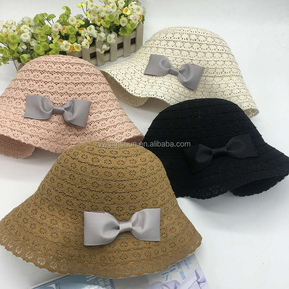 Folding Summer New Lace Bow-butterfly Women Straw Hat Beautiful Style Sample Free