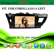 car dvd gps windows ce 6.0 fit for Toyota corolla 2014 left hand drive with radio bluetooth gps tv pip dual zone