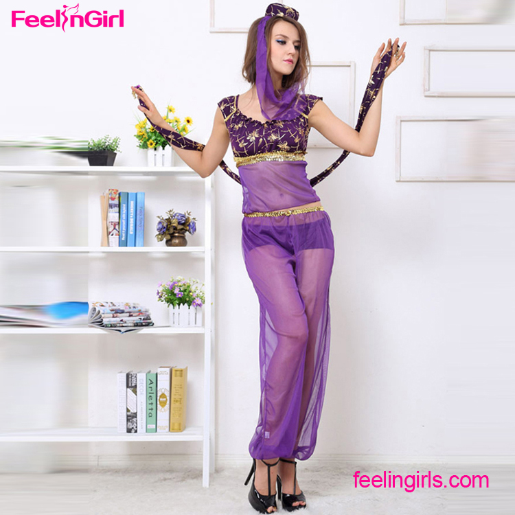 Free Shipping Purple Veil Wholesale Professional Arab Belly Dance Costume