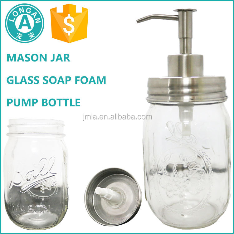 Hot sale clear mason jar with 304 stainless steel pump and lid