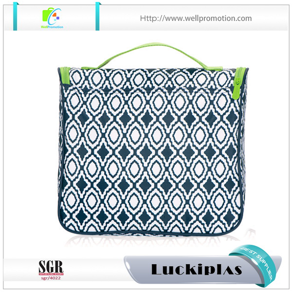 Hanging wholesale Nylon cosmetic bags with compartments makeup punch for travel