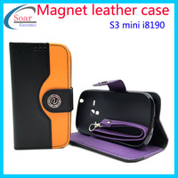 Newest genuine real leather flip case cover for Samsung Galaxy S3 mini,mobile phone accessories for S3 mini