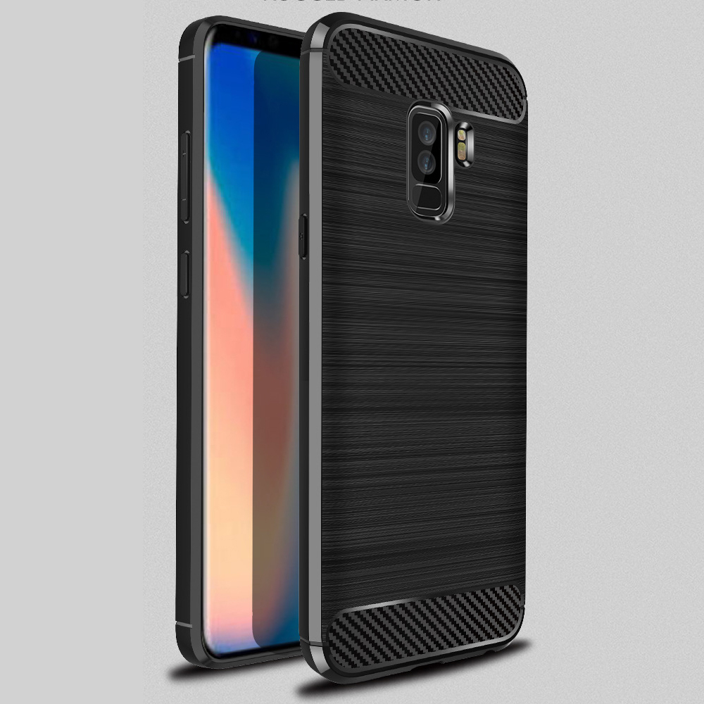 brush tpu phone case for samsung galaxy s9 silicone cover for galaxy s9 plus carbon fiber case