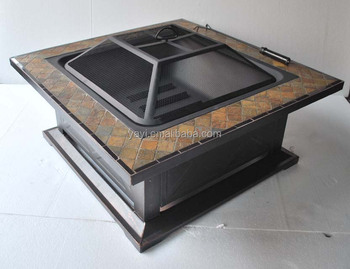 36inch square Fire Pit Table with rust yellow slate
