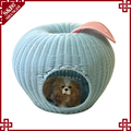 Lovely apple shape washable woven rattan portable kitty cat pet bed cage furniture dog house