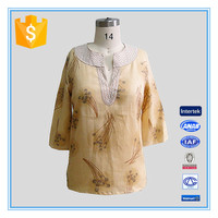 Special Collar Design Fashion Ladies 3/4 Sleeve Blouse