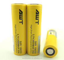 2016 Newest AWT 18650 3.7v battery 2500mah35a battery high drain dewalt power tools for boxer mod malaysia