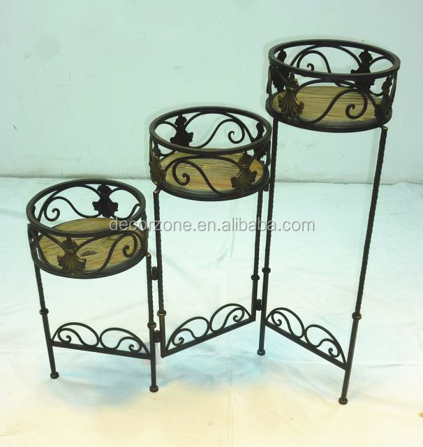 Folding Antique Wooden Flower Pot Plant Stands with Metal Leg