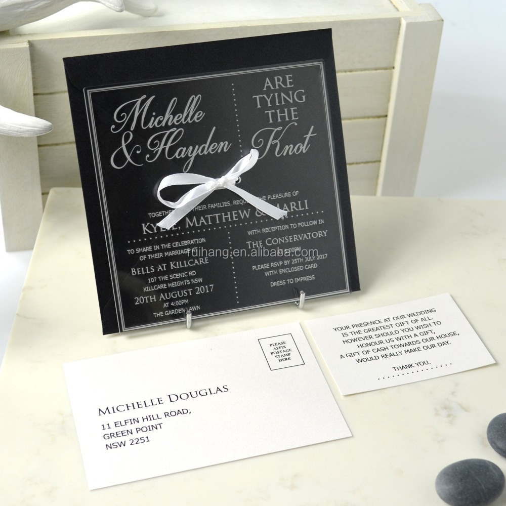 limitied edition invitation Limited Edition Engraved Square Clear Acrylic Wedding Invitation Package
