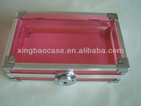Aluminum pen case pencil box,3 compartment pencil case with acrylic panel