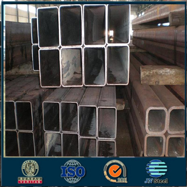 Super weld black steel square pipes via Tianjin port believable steel tube