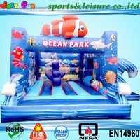 ocean park combo, sea world animal inflatable bouncy castle slide combo,kids party equipment for sale
