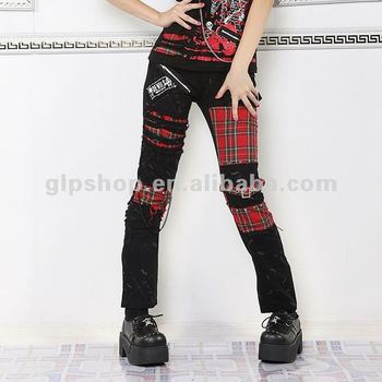 PUNK VISUAL KEI SLIM LOOK MUMMY Red Plaid PANTS 71178