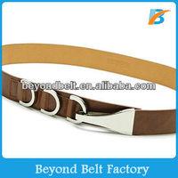 Ladies' Fashion Brown Color Fake PU Leather Dress Belt with Clasp Enclosure