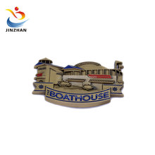 Custom metal made funny 3D boathouse shape souvenir fridge magnet