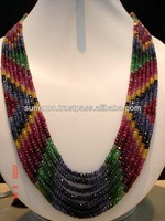 7 Strands RUBY SAPPHIRE EMERALD MULTI GEMSTONE NECKLACE