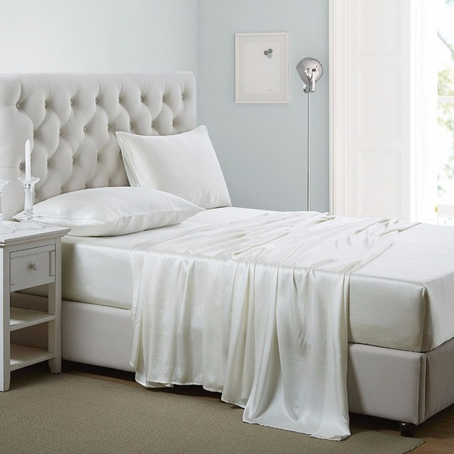 100% 16/19mm Mulberry Silk Sheets 4Pcs Duvet Comforter Cover Fitted Sheet Pillowcases silk Bedding Set