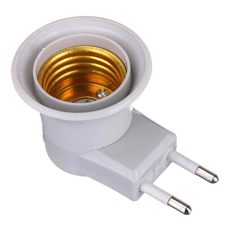 1204 Lamp Base E27 LED Light Male Socket to EU Type Plug Adapter Converter for Bulb Lamp Holder With ON OFF Button 1