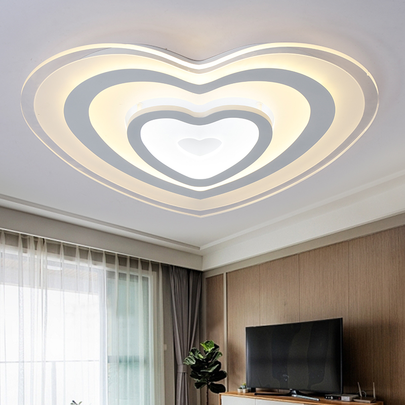 2017 Simple Design Fashion Heart Shape Ceiling Light Led Dimming 72w With Remote Control 1712