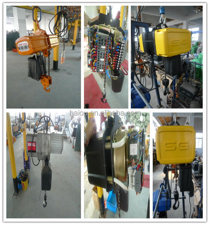 tuv SG type 1 ton 12 volt electric chain hoists with ring or hook