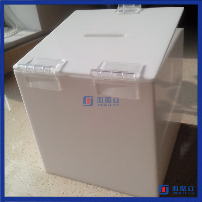 White color different size custom made acrylic coin / donation box with lid and lock /acrylic suggestion box
