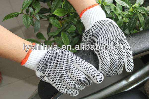 Navy blue Two side pvc dot cotton glove