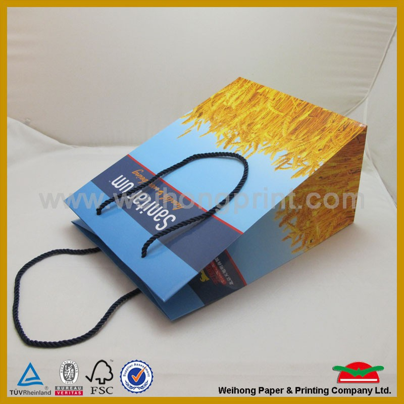 Promotional paper bag, wheat graphic, 157g C2S art paper