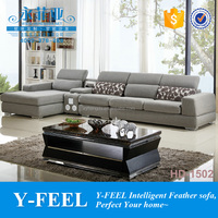 Very Cheap price living room furniture sofa set L shaped designs item HD1502