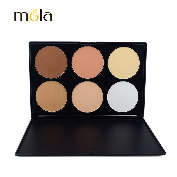 OEM cheap contour 6 Colors makeup palette, private label 6 colours highlight contour palette