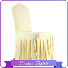 2016 New Design Satin Chair Cover Yellow Solid Drape polyester with High Quality
