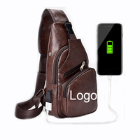 Outdoor Usb Charging Custom Leather Single Shoulder Bag Leisure Men Chest Bag