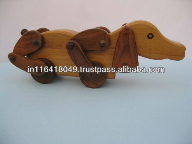 Handcrafted Wooden Barking Dog
