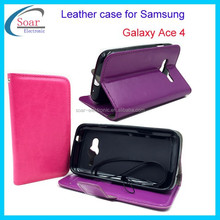 Fashion luxury multi-function protective crazy horse leather folding flip smart case cover for Samsung galaxy Ace 4