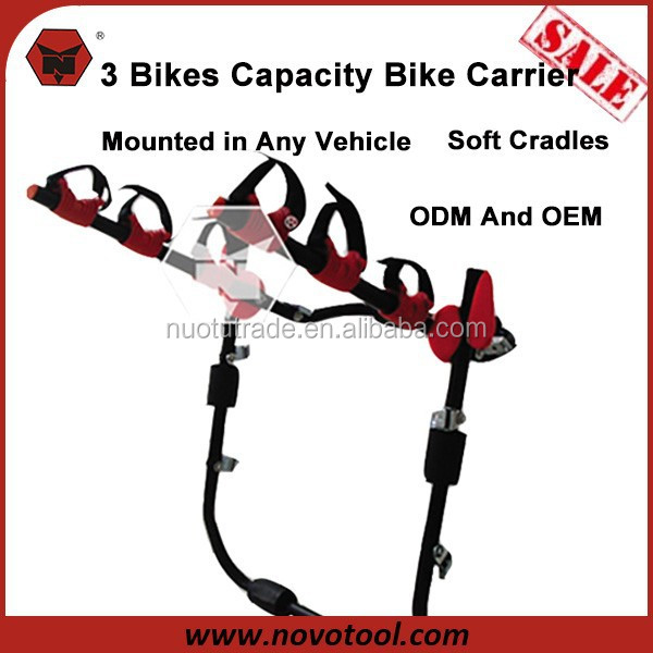 Manufacturer Competitive Price 3 Bikes Loadings Steel Trunk Mounted Car Bike Carrier with CE