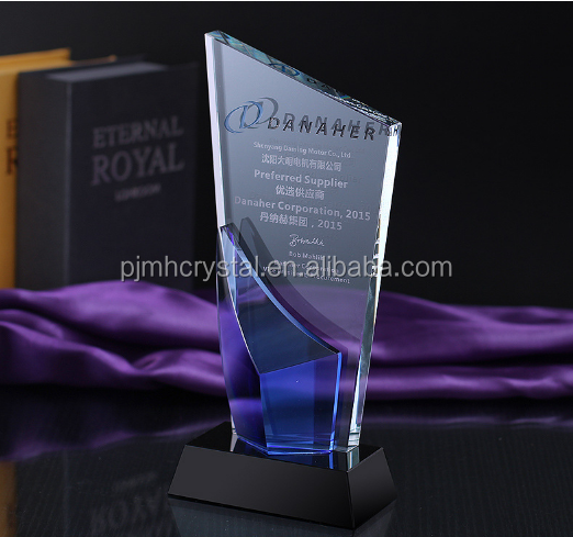 New Design Custom Engraved Bivalent Azure Crytal Plaque Wholesale World Cup Trophy MH-JB0031