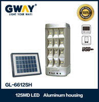 12 LED 250lm rechargeable emergency light solar panel