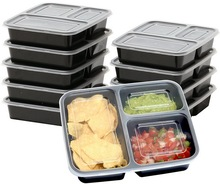 Microwave Reusable Plastic 3 Compartment Food Container