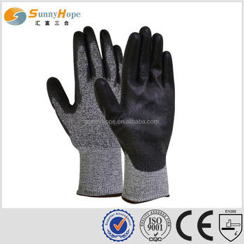 PU coated level 5 anti-cut work gloves anti-cut glove safety working gloves