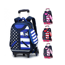 Printed Logo Children Primary Middle Kids Trolley School Bag
